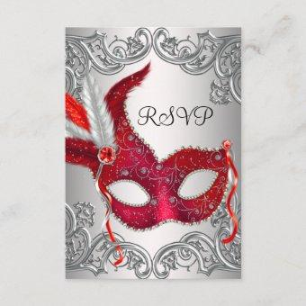 Red Mask Masquerade Party RSVP