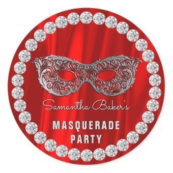 Red Satin Diamonds Masquerade Party Glam Birthday Classic Round Sticker