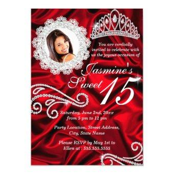 Red Silver Diamond Tiara Photo Quinceanera Invitations