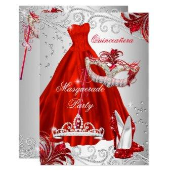 Red Silver Dress masquerade mask