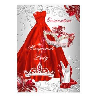 Red Silver Dress masquerade Quinceanera mask Invitations