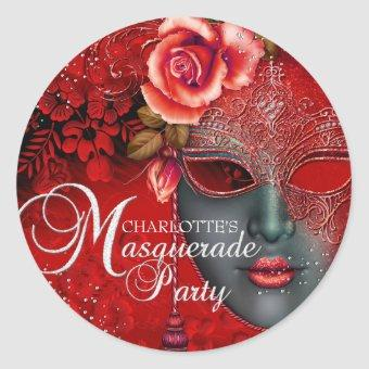 Red Sparkle Mask Masquerade Party Sticker