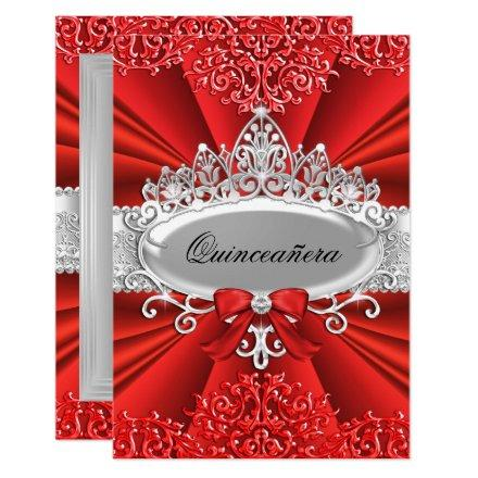 Red Tiara & Damask Invite