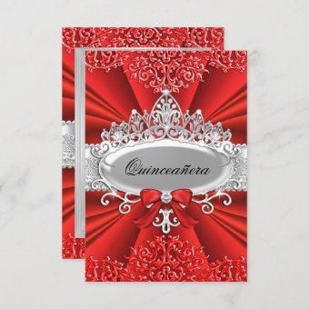 Red Tiara & Damask Invite