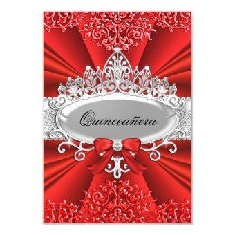 Red Tiara & Damask Quinceanera Invite