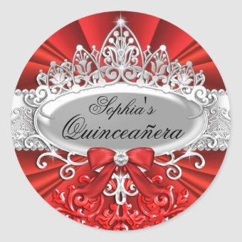 Red Tiara & Damask Sticker