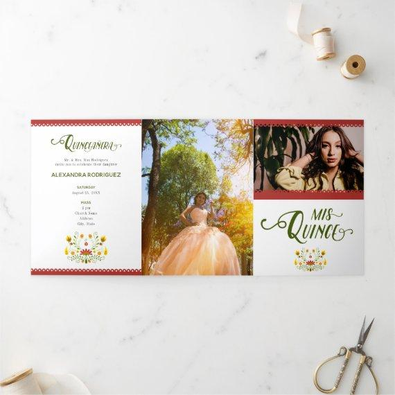 Red Traditional Mexican Floral Photo Tri-Fold