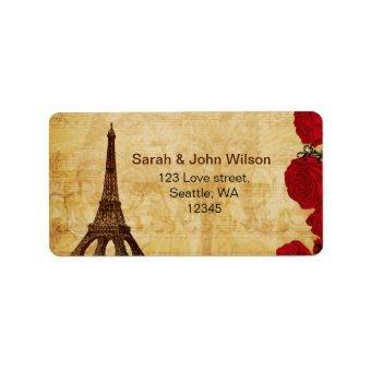 red vintage eiffel tower Paris address labels