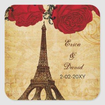 red vintage eiffel tower Paris envelopes seals