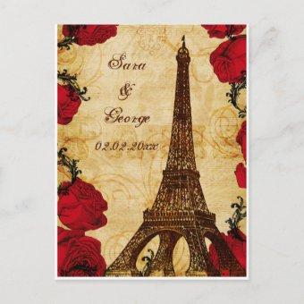 red vintage eiffel tower Paris save the date Announcement Post