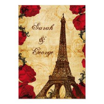 red vintage eiffel tower Paris thank you