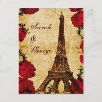 red vintage eiffel tower Paris wedding rsvp Post