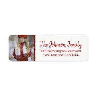 Red White Christmas Add PHOTO Return Address Label