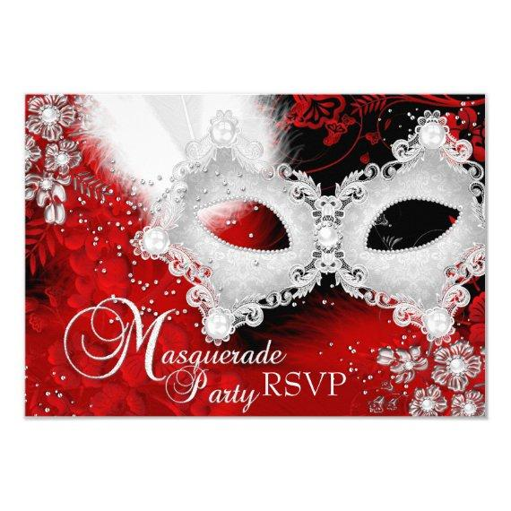Red White Sparkle Mask Masquerade Party RSVP