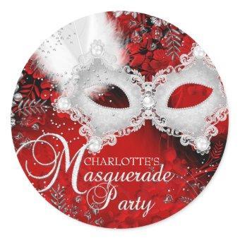 Red White Sparkle Mask Masquerade Party Sticker