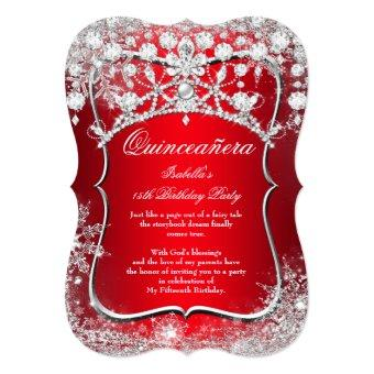 Quinceanera invitations beautiful and personalized quince aos regal red 15th winter wonderland stopboris Images