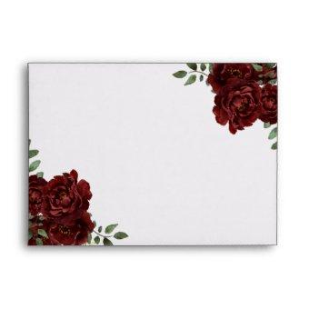 Romantic Burgundy Red Rose Envelope
