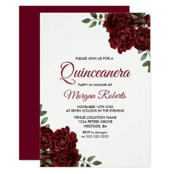 Romantic Burgundy Red Rose Invite