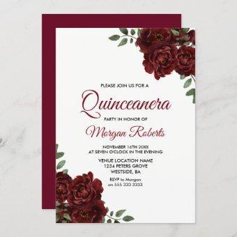 Romantic Burgundy Red Rose Invite
