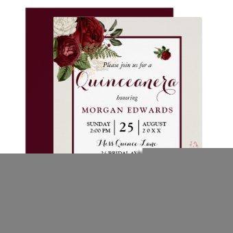 Romantic Burgundy White Floral Quinceanera Invite