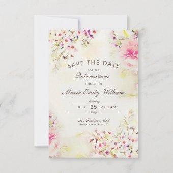 Romantic Pink Floral Watercolor Save The Date