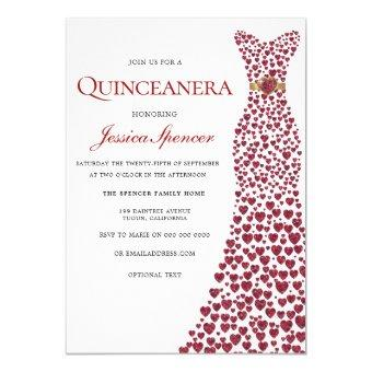 Romantic Red Love Heart Dress Invite