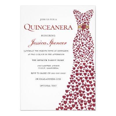 Romantic Red Love Heart Dress Invite