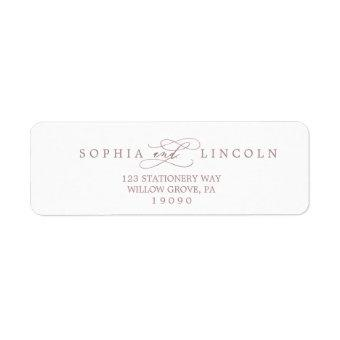 Romantic Rose Gold Calligraphy Return Address Label