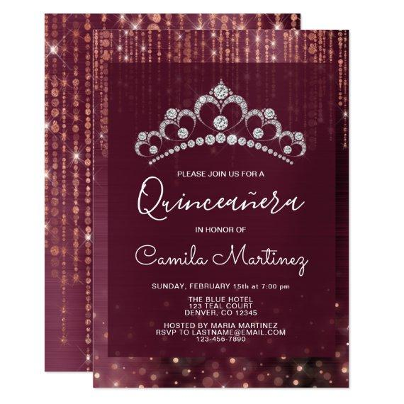 Rose Gold and Burgundy with Tiara