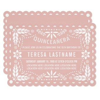 Rose gold and white papel picado Quinceañera