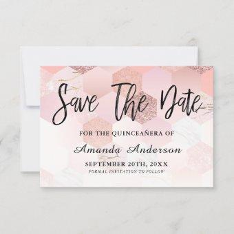 Rose Gold Brush Script Save The Date