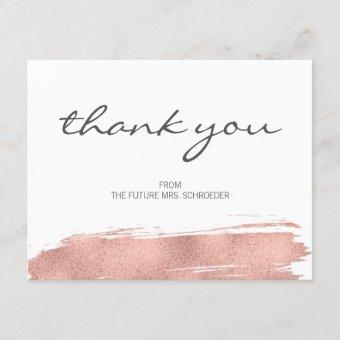 Rose Gold Brushstroke Bridal Shower Thank You