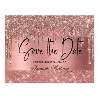 Rose Gold Chic Quinceañera Save The Date Post