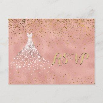 Rose Gold Diamond Dress Quinceanera RSVP Card