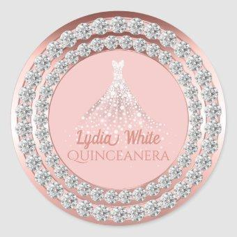 Rose Gold Diamonds Sparkle Dress Classic Round Sticker