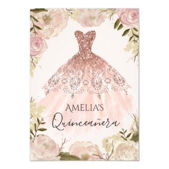 Rose Gold Dress Floral Rose Invite