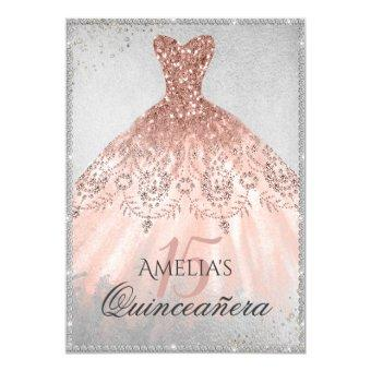 Rose Gold Dress Silver Sparkle 15th