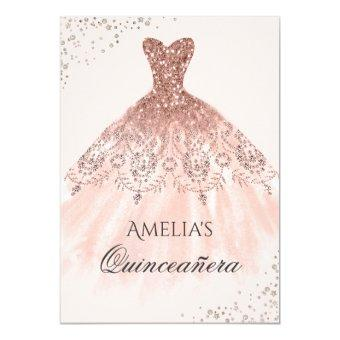 Rose Gold Dress Sparkle Quinceanera Invitation