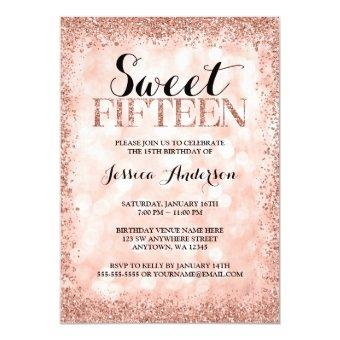 Rose Gold Faux Glitter Lights Sweet 15