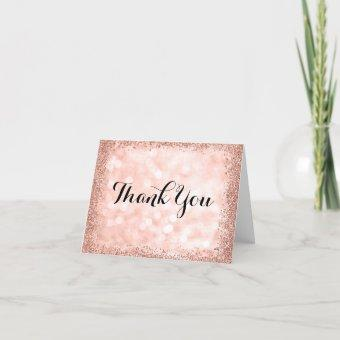Rose Gold Faux Glitter Lights Thank You