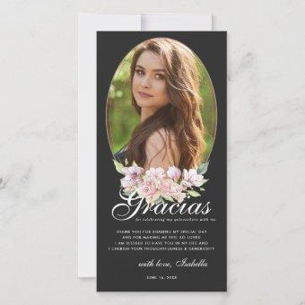 Rose Gold Floral Quinceañera Photo Thank You