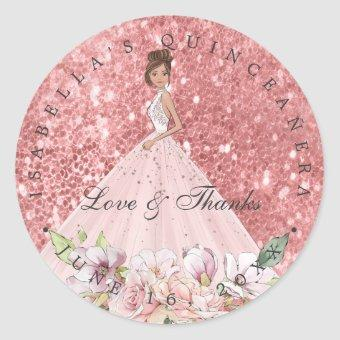 Rose Gold Floral Quinceañera Thank You Favor Classic Round Sticker