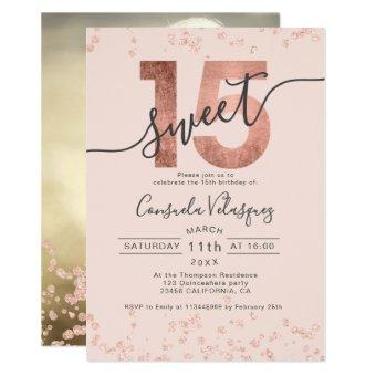 Rose gold foil confetti blush photo