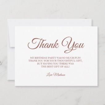 Rose Gold Foil Faux thank you Birthday Party
