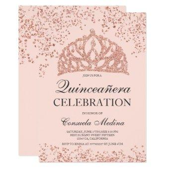 Rose gold glitter blush crown tiara Quinceañera