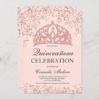 Rose gold glitter blush crown tiara Quinceañera
