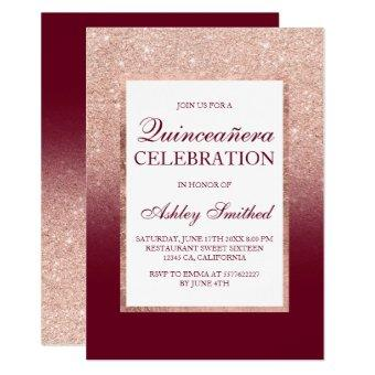 Rose gold glitter burgundy red elegant Quinceañera