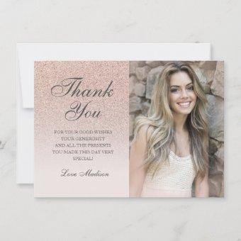 Rose gold glitter chic photo thank you Quinceañera