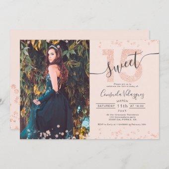 Rose gold glitter confetti photo blush