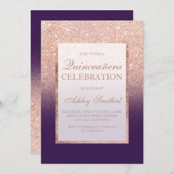 Rose gold glitter elegant purple grape Quinceañera